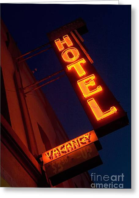 Jay Leno Greeting Cards - Route 66 Hotel Williams Greeting Card by Bob Christopher