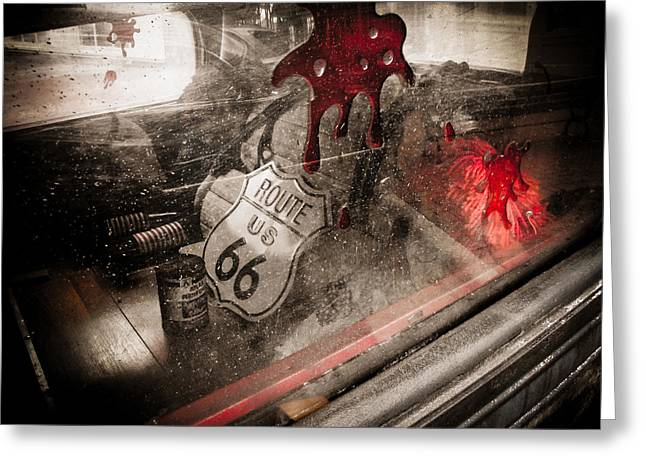 Horror Car Greeting Cards - Route 66 Greeting Card by Jessica Brawley