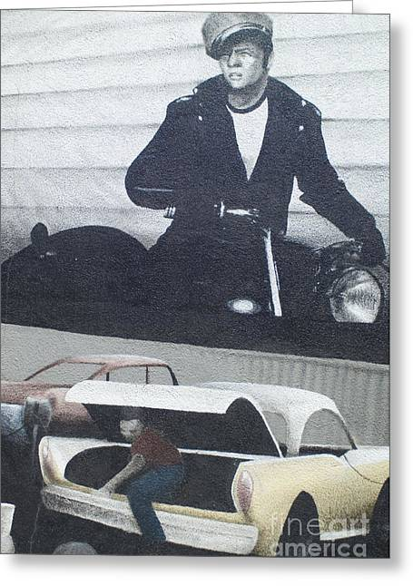 Jay Leno Greeting Cards - Route 66 Marlon Brando Mural Greeting Card by Bob Christopher