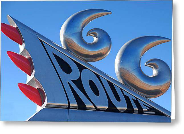 Caddy Greeting Cards - Route 66 Greeting Card by Melany Sarafis
