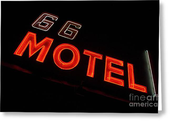 Route 66 Emblems Greeting Cards - Route 66 Motel Neon Greeting Card by Bob Christopher