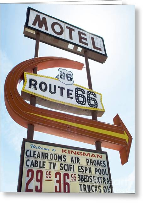 Route 66 Emblems Greeting Cards - Route 66 Motel Sign 1 Greeting Card by Bob Christopher