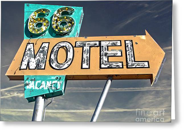 Gregory Dyer Greeting Cards - Route 66 Motel Sign Greeting Card by Gregory Dyer