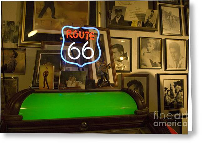 Route 66 Emblems Greeting Cards - Route 66 Neon Sign 1 Greeting Card by Bob Christopher