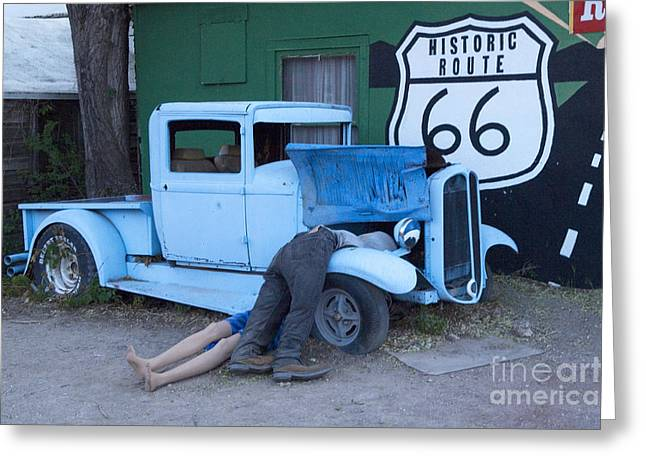 Route 66 Repair Shop Greeting Card by Bob Christopher