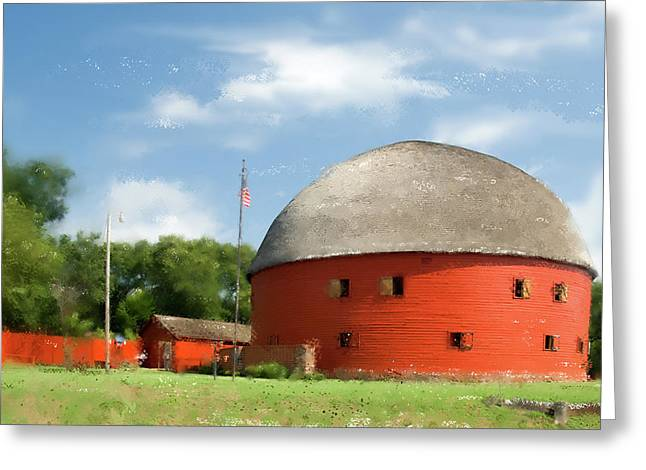 Barn Digital Art Greeting Cards - Route 66 Round Barn Greeting Card by Betty LaRue