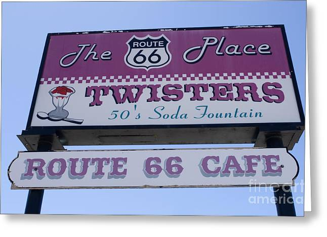 Jay Leno Greeting Cards - Route 66 Twisters Sign Greeting Card by Bob Christopher