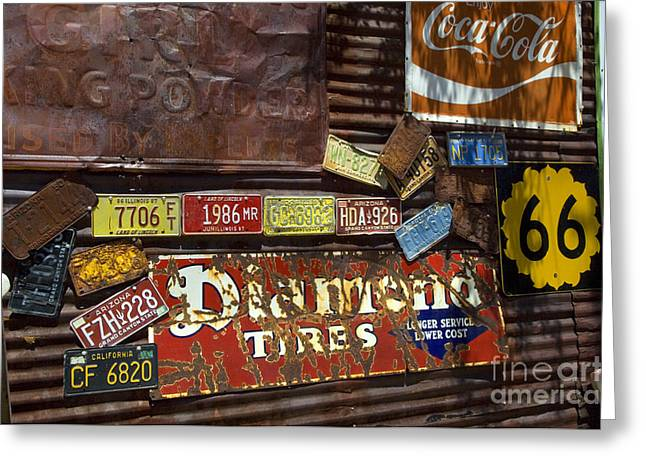 Sights Along Route 66 Greeting Cards - Route 66 Vintage Signs Greeting Card by Bob Christopher