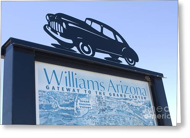 Jay Leno Greeting Cards - Route 66 Williams Sign Greeting Card by Bob Christopher