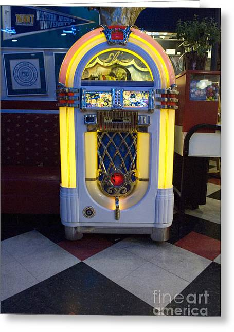 Jay Leno Greeting Cards - Route 66 Wurlitzer Greeting Card by Bob Christopher