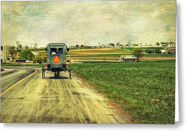 Amish Greeting Cards - Route 716 Greeting Card by Kathy Jennings