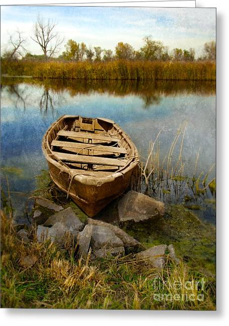 Row Boat Greeting Cards - Row Boat at Edge of River Greeting Card by Jill Battaglia