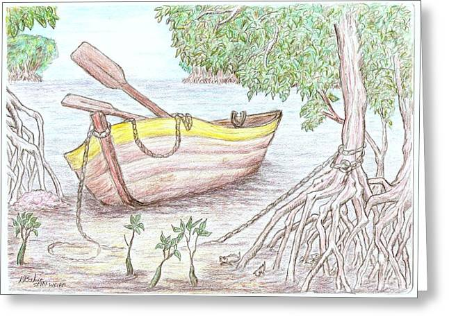 Row Boat Drawings Greeting Cards - Row Boat In The Mangroves Greeting Card by Desley Brkic