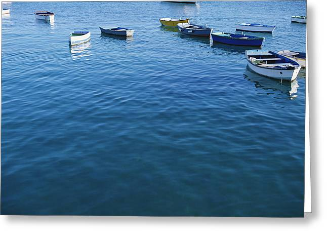Row Boats In Harbor, Lanzarote Greeting Card by Axiom Photographic