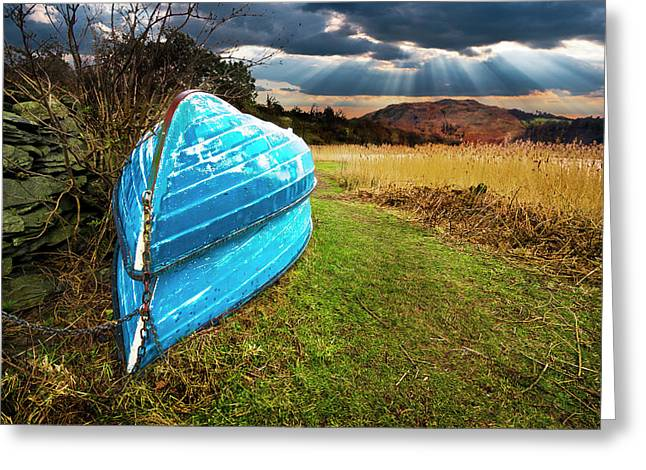 Green Boat Greeting Cards - Row Boats In Waiting Greeting Card by Meirion Matthias