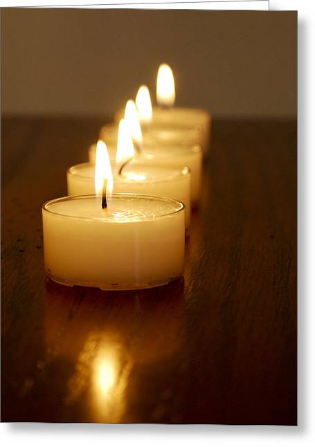 Illuminate Greeting Cards - Row of Candles Greeting Card by Malania Hammer