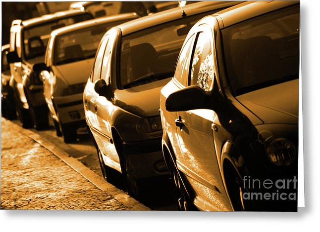 Auto Show Greeting Cards - Row of Cars Greeting Card by Carlos Caetano