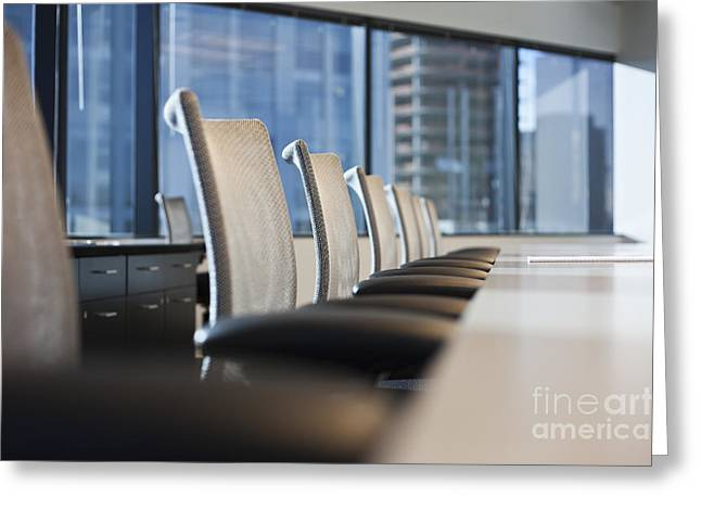 """""""meeting Room"""" Greeting Cards - Row of Chairs and a Table in a Conference Room Greeting Card by Jetta Productions, Inc"""