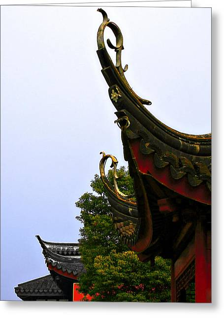 Roof Greeting Cards - Row of Chinese Rooftops Greeting Card by Christine Till
