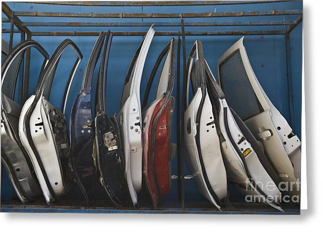 Dismantled Greeting Cards - Row of Dismantled Car Doors Greeting Card by Noam Armonn