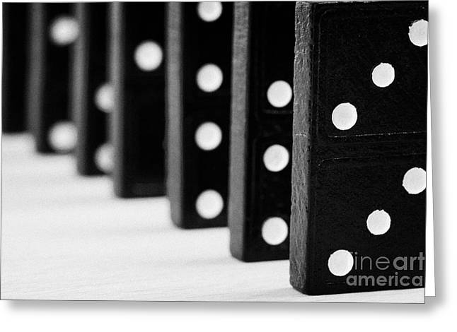 Domino Effect Greeting Cards - Row Of Dominoes Greeting Card by Joe Fox
