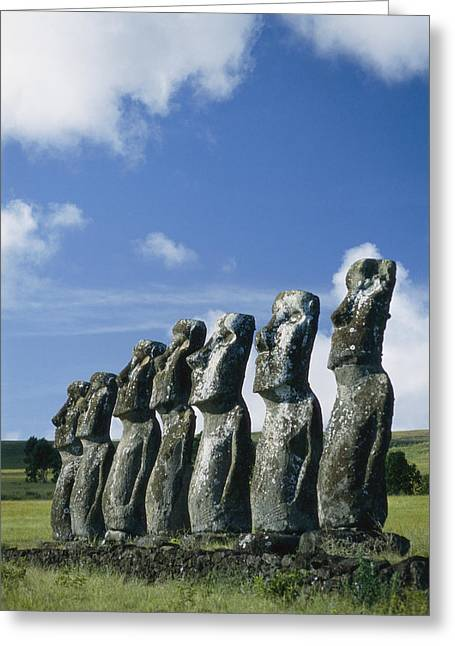 Monolith Greeting Cards - Row Of Monoliths With Clouded Sky Greeting Card by Richard Nowitz