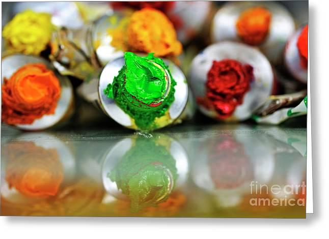 Sami Sarkis Greeting Cards - Row of paint tubes Greeting Card by Sami Sarkis