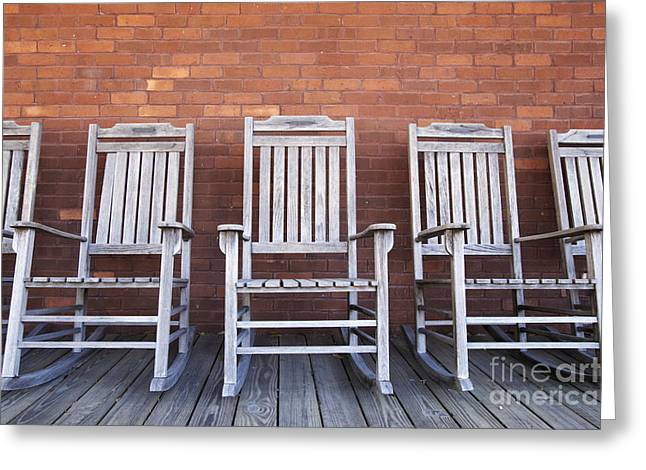 Row of Rocking Chairs Greeting Card by Skip Nall