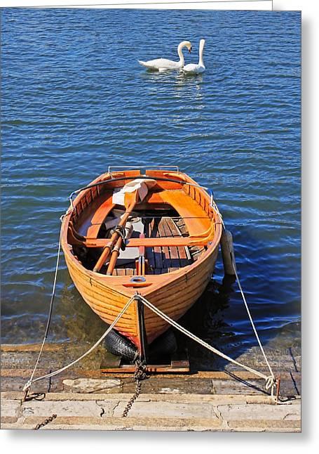 Swans... Greeting Cards - Rowboat Greeting Card by Joana Kruse