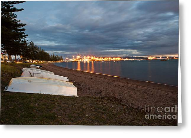 Mount Maunganui Greeting Cards - Rowboats at Dusk Greeting Card by John Buxton