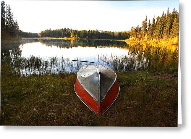 Overturn Greeting Cards - Rowboats at Jade Lake in Northern Saskatchewan Greeting Card by Mark Duffy