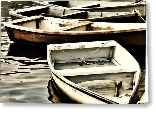Rowboat Digital Art Greeting Cards - Rowboats in Maine Greeting Card by Tony Grider