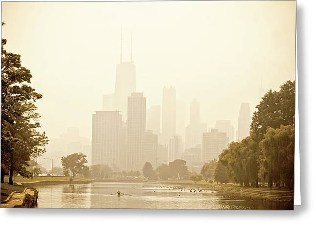 Nature Center Pond Greeting Cards - Rower in Mist with downtown Chicago in the background Greeting Card by Andria Patino