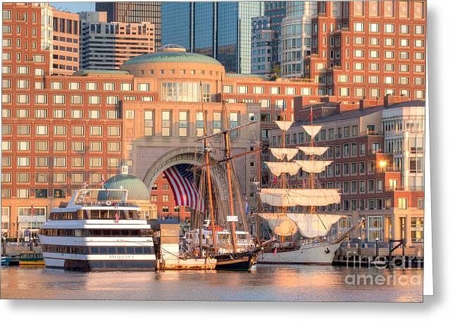 Asta Greeting Cards - Rowes Wharf Greeting Card by Susan Cole Kelly