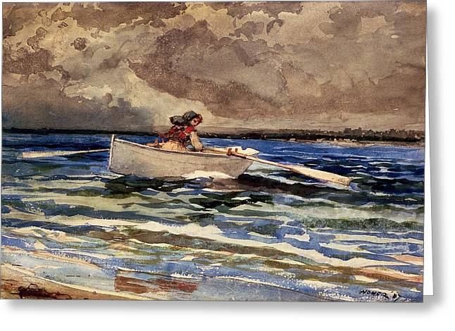 Docked Sailboats Greeting Cards - Rowing at Prouts Neck Greeting Card by Winslow Homer