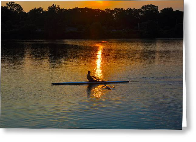 Schuylkill Digital Art Greeting Cards - Rowing at Sunset 2 Greeting Card by Bill Cannon