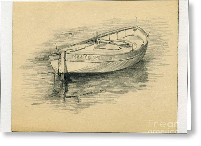 Row Boat Drawings Greeting Cards - Rowing Boat Greeting Card by John Chatterley