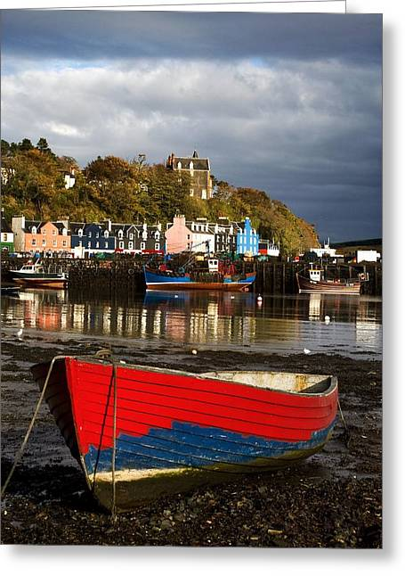 Row Boat Greeting Cards - Rowing Boat On The Island Of Tobermory Greeting Card by John Short