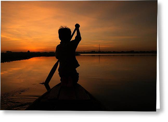 Cambodia Greeting Cards - Rowing into the Sunset Greeting Card by Nabil Kannan