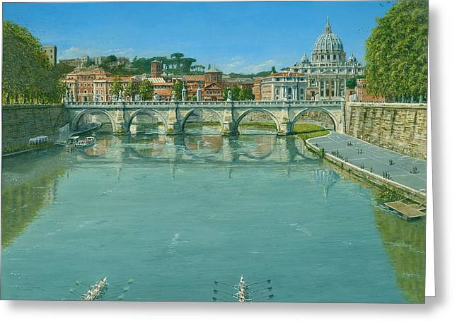 Rowing Greeting Cards - Rowing on the Tiber Rome Greeting Card by Richard Harpum