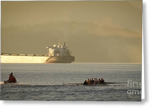 Rowing Crew Greeting Cards - ROWING TANKER training off sunset beach park downtown vancouver bc canada Greeting Card by Andy Smy