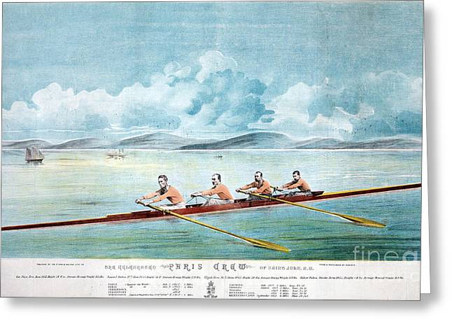 Rowing Crew Greeting Cards - ROWING TEAM, c1875 Greeting Card by Granger