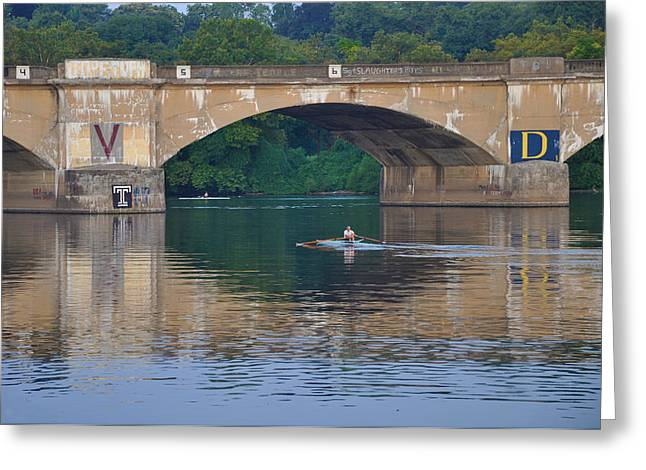 Rowing Crew Digital Art Greeting Cards - Rowing Under the Columbia Railroad Bridge in Philadelphia Greeting Card by Bill Cannon