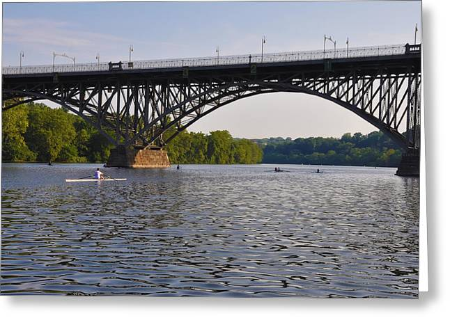 Kelly Drive Digital Art Greeting Cards - Rowing under the Strawberry Mansion Bridge Greeting Card by Bill Cannon