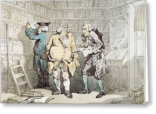 Rowlandson Greeting Cards - Rowlandson: Bookseller Greeting Card by Granger