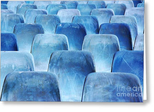 Amphitheater Greeting Cards - Rows of blue chairs Greeting Card by Carlos Caetano