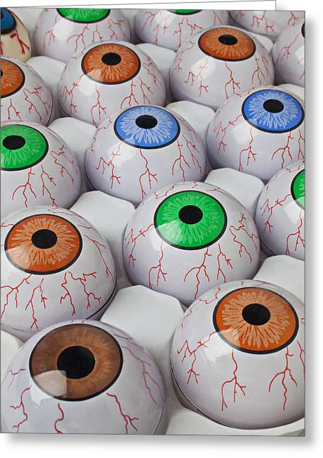 Seen Photographs Greeting Cards - Rows of eyeballs Greeting Card by Garry Gay
