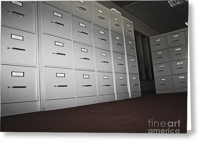Office Space Greeting Cards - Rows of Filing Cabinets Greeting Card by Jetta Productions, Inc