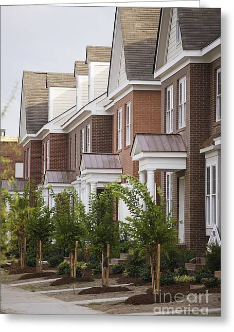 Next To Tree Greeting Cards - Rows Of New Townhomes Greeting Card by Roberto Westbrook
