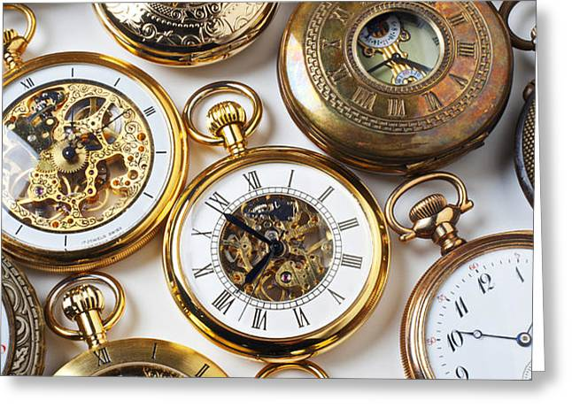 Rows Of Pocket Watches Greeting Card by Garry Gay